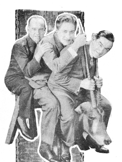 Stephen Donoghue, Carlyle Blackwell and Frank Bullock winning the studio stakes - during filming of Riding For a King (1926) at the Islington studio