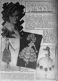 The French designer, Marcelle De Saint Martin with some of her costume designs for productions filmed at the Islington film Studio in the early 1920s for Famous Players Lasky British Producers Ltd